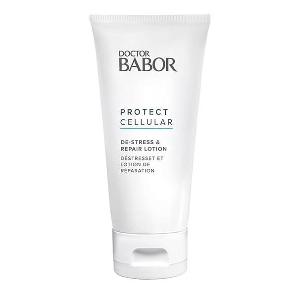 Doctor Babor Protect Cellular De-Stress & Repair Lotion for ansikt og kropp med utvalgte aktive ingredienser reduserer ubehagelige følelser av spenning, irritasjon og varme betydelig – den avkjøles, absorberes raskt og støtter regenerering av huden.