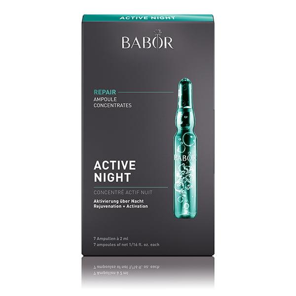 Babor Ampoule Concentrates Repair Active Night reduserer synlig dybden på fine linjer og rynker, og gir huden øyeblikkelig et jevnere og fastere utseende – løfteeffekten skaper jevnere hud på et øyeblikk.