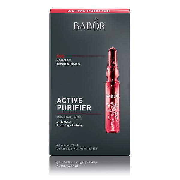 Babor Ampoule Concentrates SOS Active Purifier reduserer synlig dybden på fine linjer og rynker, og gir huden øyeblikkelig et jevnere og fastere utseende – løfteeffekten skaper jevnere hud på et øyeblikk.