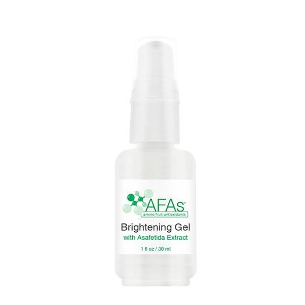 AFA Brightening Gel inneholder ingredienser som fungerer synergistisk for å målrette både årsaken og synlige effektene av hyperpigmentering og aldersflekker for sensitiv og fet hud. AFA Brightening Gel kan brukes på hender, ansikt eller kropp på størreet områder eller some en flekkbehandling, og gjenoppretter klarhet og utstråling gjennom en unik formulering som er effektiv for alle hudtyper.
