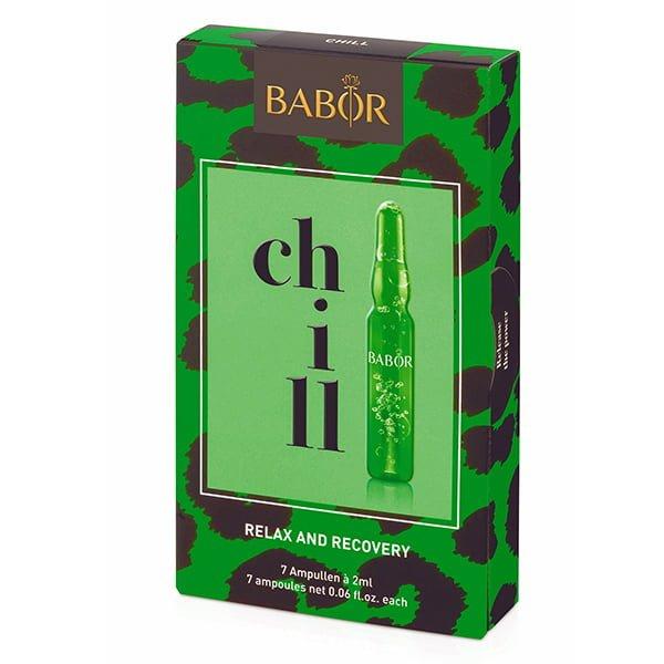 Babor Ampoule Concentrates Chill Relax and Recovery ampullekur innheholder naturlig hampfrøolje som er spesielt rik på Omega-6 fettsyrer og virker regenererende på en stresset hudbarriere.