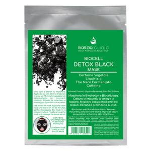 Marzia Clinic Biocell Detox Black Mask intensiv detoxmaske inneholder Activated Charcoal, Liquorice, Fermented Black Tea og koffein, perfekt for uren og blass hud. Den fjerner alle urenheter og giftstoffer og reduserer hudbetennelser. Etter bruk vil huden se lysere ut, oksygenriktig og med en bedre feilfri hudfarge.