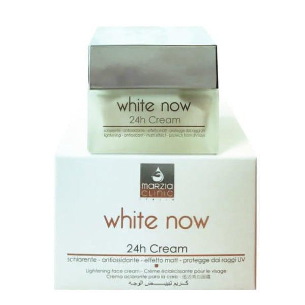 Marzia Clinic White Now 24h Cream er en målrettet anti-flekk og anti-aldring krem som uniformerer hudfargen og minimerer hudens ufullkommenhet. En raskt absorbert struktur som gjør den egnet for både dag og natt.