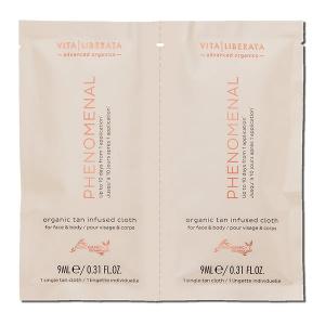 Vita Liberata Phenomenal Organic Tan Infused Cloth Face & Body er pH-organiske, solbrune kluter tilsatt en pH-formel for en langvarig, naturlig utseende brunfarge i en lett å bruke, biologisk nedbrytbar klut. Beriket med sertifiserte organiske botaniske stoffer og overladet med Advoganic-teknologi. Disse praktiske klutene behandler og kurerer huden din, og gir deg den sunneste, mest varige, naturlige solbrunen.