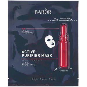 Babor Ampoule Concentrates Active Purifier Mask er en svært effektiv kombinasjon av BABOR Ampoule Concentrates og eksklusiv tøymaske som sikrer de aller beste resultatene som ved aktivering av friskhetskapselet kombinerer de aktive ingrediensene i ampullen og klutmasken som resulterer i at matt hud glitrer og gir en perfekt, frisk glød.