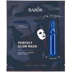 Babor Ampoule Concentrates Perfect Glow Mask kombinerer den svært effektive Babor Ampoule Concentrates med den eksklusive tøymasken som sikrer de aller beste resultatene ved aktivering av friskhetskapselet som kombinerer de aktive ingrediensene i ampullen og klutmasken og gjør at vissen hud glitrer og gir en perfekt, frisk glød.