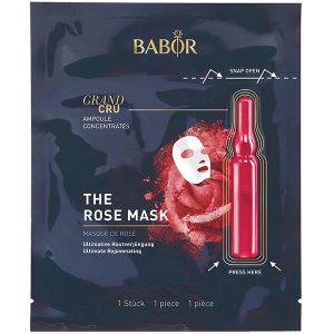 Babor Ampoule Concentrates Grand Cru The Rose Mask er en svært effektive kombinasjon av BABOR Ampoule Concentrates og eksklusiv tøymaske som sikrer de aller beste resultatene ved å aktivere friskhetskapselet som kombinerer de aktive ingrediensene i ampullen og klutmasken som resulterer i ultimat hudforyngelse med regenererende egenskaper og en øyeblikkelig effekt.