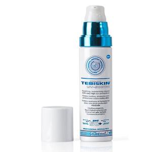 Tebiskin UV-Sooth Cream SPF 50+ er en krem med veldig høy solbeskyttelse med en intens beroligende og fuktighetsgivende effekt. Dette er et spesifikt produkt for fotobeskyttelse av hud med Couperose og anbefales i alle tilfeller der ultrafiolett stråling kan føre til utbrudd av hudproblemer.