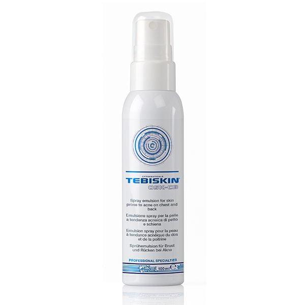 Tebiskin OSK Chest & Back Spray Emulsion er indikert for fet, akneutsatt hud på brystet og ryggen, spesielt når huden viser pletter. Den funksjonelle handlingen er rask og tydelig. Produktet tas raskt opp og etterlater ikke en fet følelse.
