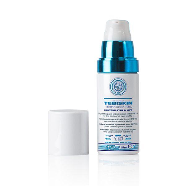 """Tebiskin Reticap Contour Eye & Lip SPF 15 er et produkt basert på ren mikroinnkapslet Retinol, spesielt for det delikate og følsomme øye- og leppekonturområdet. Den effektive dype og langvarige fuktighetsgivende og tonende virkningen reduserer synligheten av rynker, fine linjer og """"kråkeføtter"""" og motvirker gravitasjonshelling av det øvre øyelokket. UVB- og UVA-filtrene (SPF 15) i produktet beskytter den ømfintlige huden i øyet og leppekonturen mot solstråling. Takket være Skin Flash App Technology er resultatene tydelige allerede noen minutter etter påføring: huden virker øyeblikkelig glatt og silkeaktig og synligheten av rynker reduseres markant. Produktet sprer seg lett og absorberes raskt."""