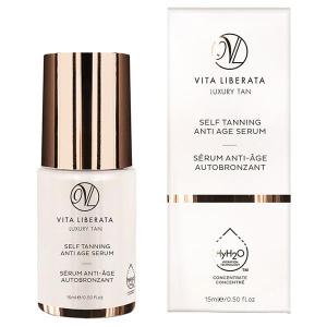 Vita Liberata Self Tanning Anti Age Serum gir gradvis selvbruningseffekt og har unike HyH20 teknologi egenskaper som binder fukten og gir effektive anti-age fordeler som utfyller din eksisterende hudpleierutine.