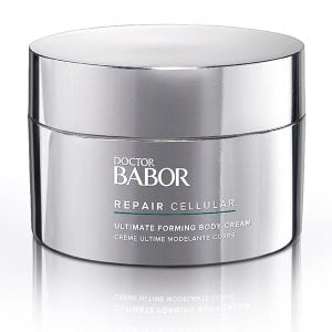 Doctor Babor Repair Cellular Ultimate Forming Body Cream fremmer hudregenerering og er utmerket egnet for hudpleie etter operasjoner og resulterer i en jevnere hudfarge, samt forbedrer utseendet på strekkmerker.