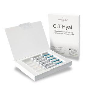 Dermaroller CIT Hyal Hyaluronsyre Gel letter behandlingen med eDermastamp LS og gir fuktighet til hudens overflate.