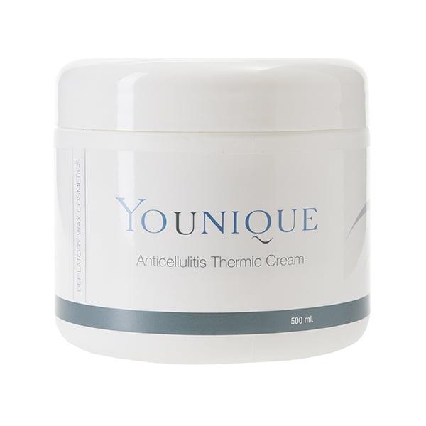 Younique Anticellulites Thermic Cream er en kroppskrem til hjemmebehandling av og mot cellulitter / appelsinhud. Kremen øker blodsirkulasjonen og er svært avgiftende og rensende mot slaggstoffer. Klienter med dårlig blodsirkulasjon har også svært god nytte av denne kremen.