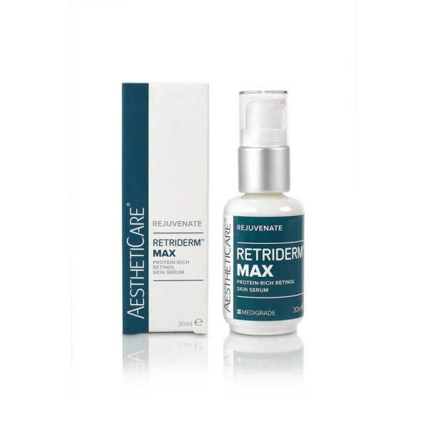 Retriderm MAX 1% er et avansert og klinisk bevist vitamin A-serum som synlig og fysisk forynger alderende hud. 1% Retinolserum er ideelt for de med sensitiv hud eller de med høyere nivåer av fotoskader. Retinol er en kraftig, klinisk bevist hudpleieingrediens. Det er viktig å akklimatisere huden ved å bruke Retriderm Serum (0,5%) annenhver kveld den første uken eller to, før den brukes hver kveld.
