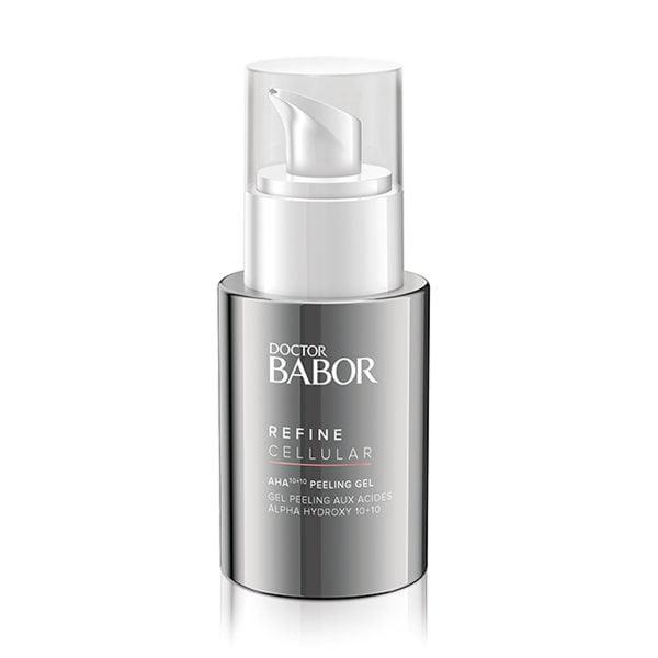Doctor Babor Refine Cellular AHA 10+10 Peeling Gel er en fruktsyre-eksfolierende gel for ansiktet.