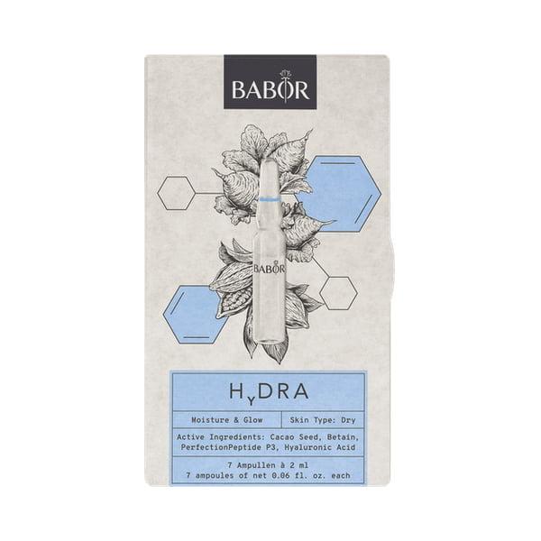 Babor Ampoule Concentrates – Hydra er det ultimate boostet for tørr hud. Få frem din indre glød med hjelp av denne intensive ampullekuren med hyaluronsyre og polysakkarider.