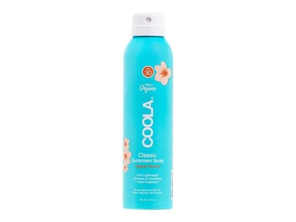 Solbeskyttelse til både ansikt og kropp. Superenkel å bruke og man kommer til overalt, og den fungerer til og med når man sprayer opp ned. Solsprayen er naturlig på duft, ultraren og oppleves ikke klissete på huden. Den er vann- og svetteresistent, fukter og pleier huden og gir optimal beskyttelse mot solen. Ideell å ha med på tur for å spraye ekstra på utsatte steder og til den som vil ha en enkel og kjapp påføring. Inneholder +70% økologiske sertifiserte ingredienser som agurk, alger, jordbærekstrakt og bringebærfrøolje. Svak duft av kokos. Bredspektret SPF 30-beskyttelse Vannresistent opptil 80 minutter Kontinuerlig spraypåføring Rik på antioksidanter Allergivennlig Naturlig duft av kokos Vegansk Reef friendly * * Reef-friendly solkrem uten oxybenzone og octinoxat