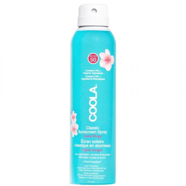 Classic SPF 50 Body Spray Guava Mango er en transparent, vann- og svetteresistent kroppsmist som beskytter huden mot UV-stråler samtidig som den pleier huden. Den er også rik på antioksidanter som beskytter mot frie radikaler. Mild og lett å bruke, passer for alle hudtyper. Formuleringen har en duft av mango. UV-beskyttelse med SPF 50 i sprayform. Vannresistent formulering. Inneholder pleiende og beskyttende ingrediense